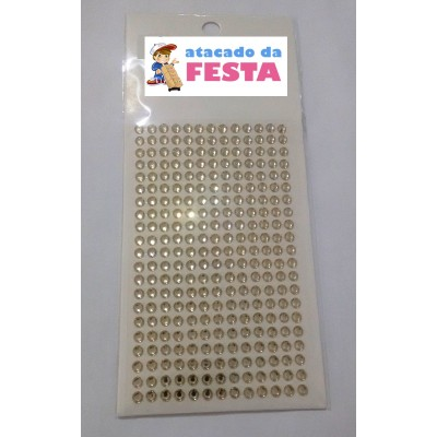 Cartela c/273 unid. Strass Chaton Ouro tamanho 5mm